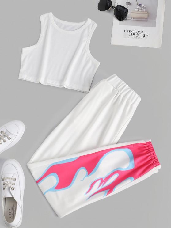 trendy Flame Print Sleeveless Pocket Sport Pants Set - WHITE L