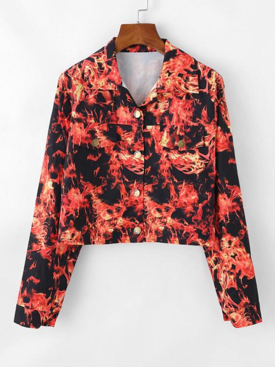 Flammen Muster Klappe Detail Kurze Jacke - Rot XL