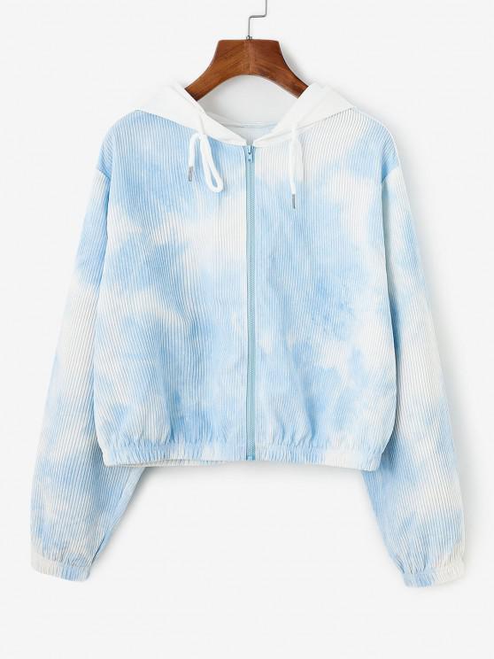 Corduroy Tie Dye Hooded Drop Shoulder Jacket - أزرق فاتح L