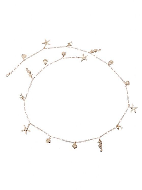 shop Shells Starfish Shape Pendant Waist Chain - GOLDEN