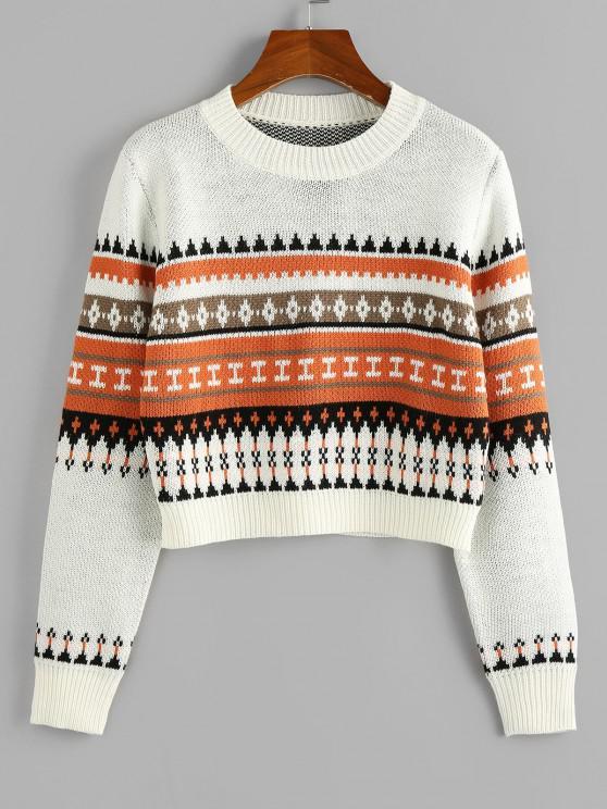 ZAFUL Geometric Crop Jumper Sweater - أبيض M
