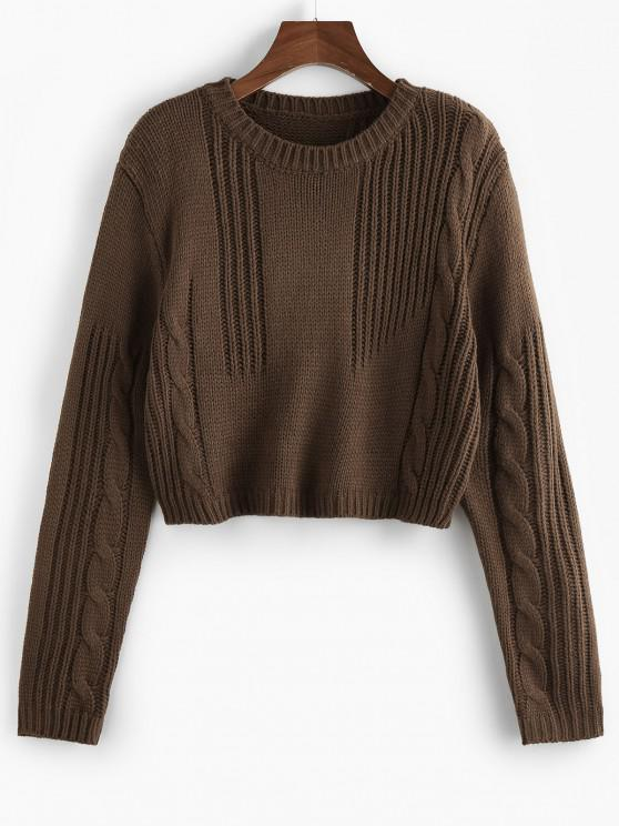 outfit ZAFUL Cable Knit Plain Crop Sweater - DEEP COFFEE M