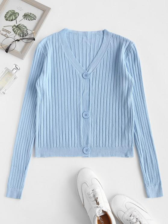 trendy Wide Rib Knit Slim Cardigan - LIGHT BLUE ONE SIZE