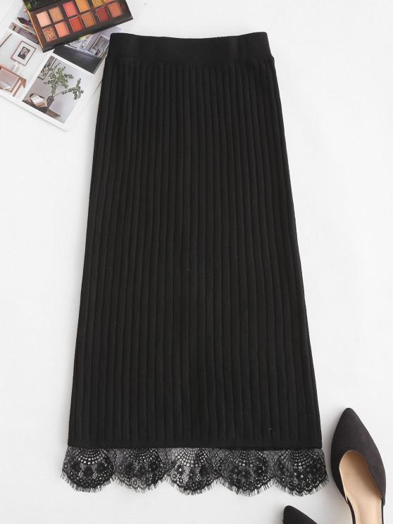 affordable Lace Hem Wide Rib Slit Pencil Skirt - BLACK ONE SIZE