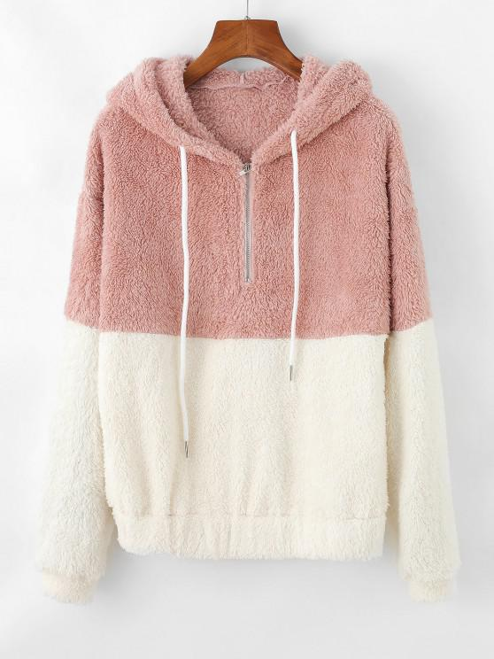 ZAFUL Two Tone Plush Half Zip Drop Shoulder Hoodie - زهري M