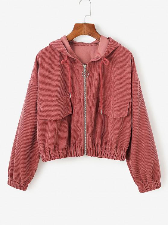 shop Corduroy Drop Shoulder Hooded Jacket - RED L