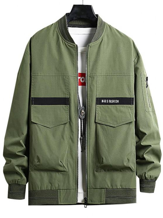 online Letter Print Double Pockets Jacket - ARMY GREEN XS