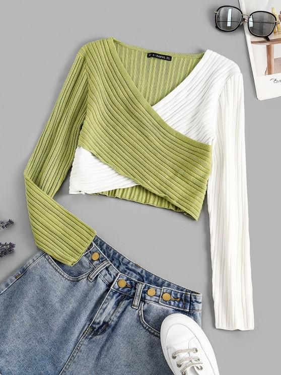 ladies Two Tone Ribbed Criss Cross Sweater - LIGHT GREEN ONE SIZE