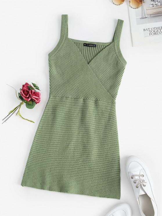 fashion Surplice Ribbed Sweater Dress - LIGHT GREEN ONE SIZE