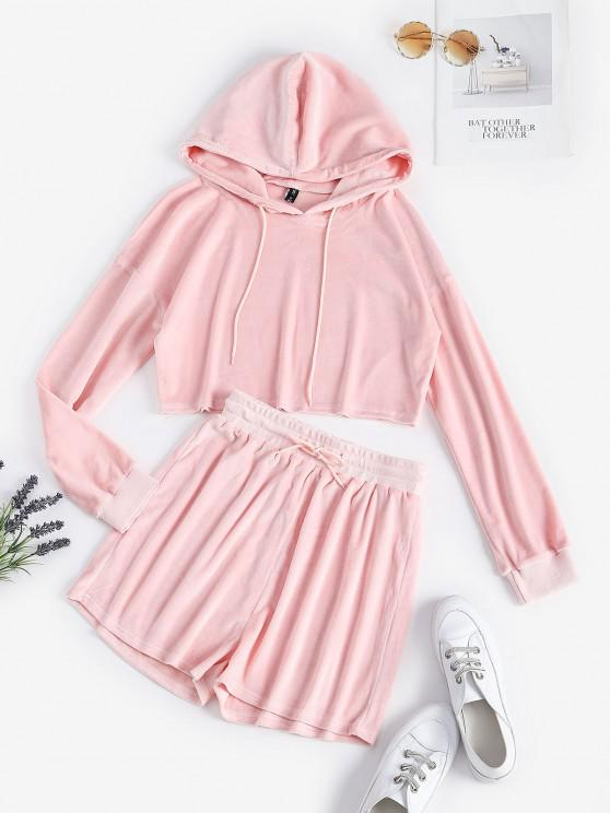 hot Fluffy Cropped Lounge Two Piece Set - LIGHT PINK L