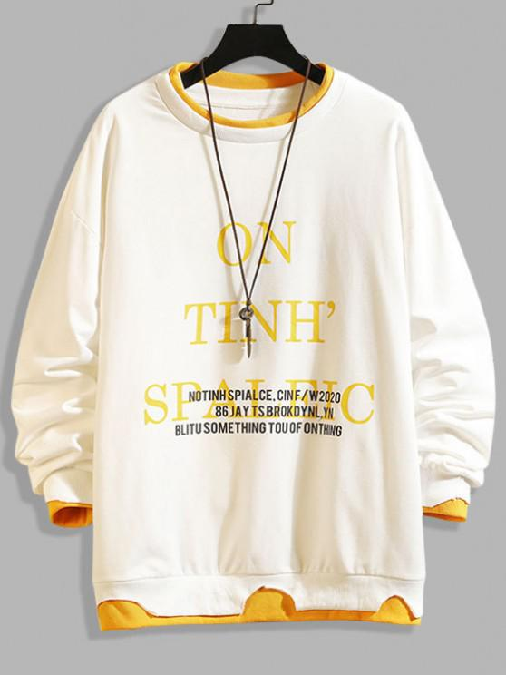 online Letter Print Colorblock Hem Drop Shoulder Sweatshirt - WHITE 2XL