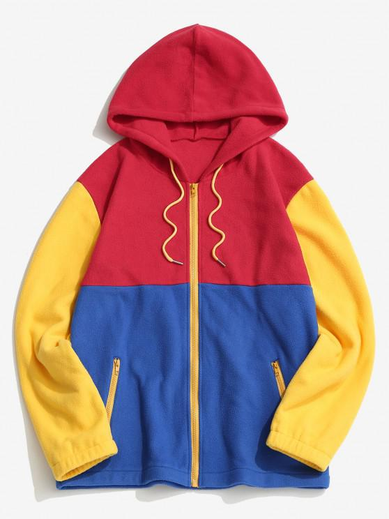 unique Colorblock Panel Fleece Hooded Jacket - RED M