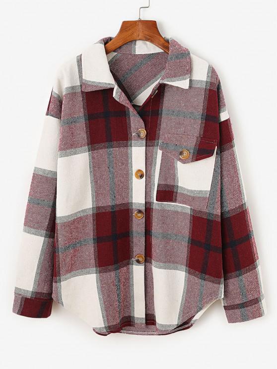 shop Plaid Drop Shoulder Pocket Coat - DEEP RED M