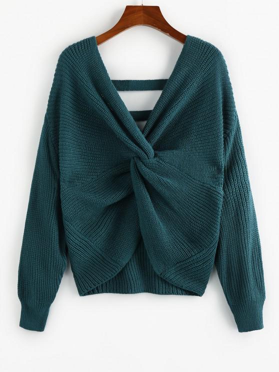 chic ZAFUL Twisted Drop Shoulder Ladder Cut Sweater - DEEP GREEN S