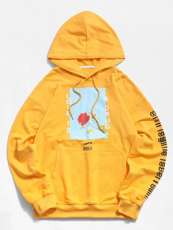 lady Love is A Drug And Rose Pattern Hoodie - YELLOW S