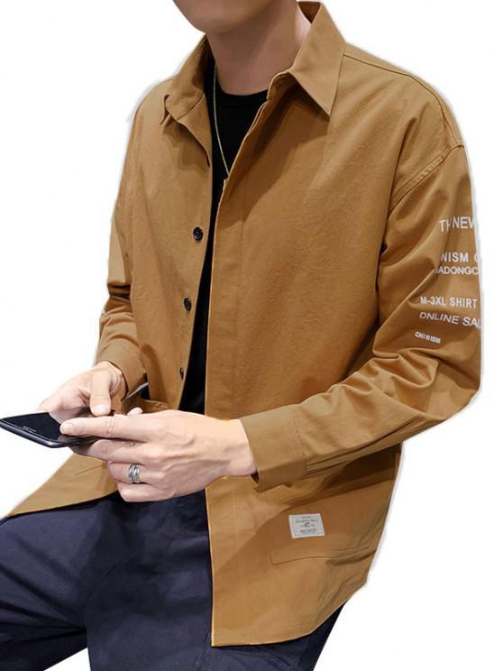 Letter Text Pockets Button Up Drop Shoulder Shirt - نحلة صفراء 2XL