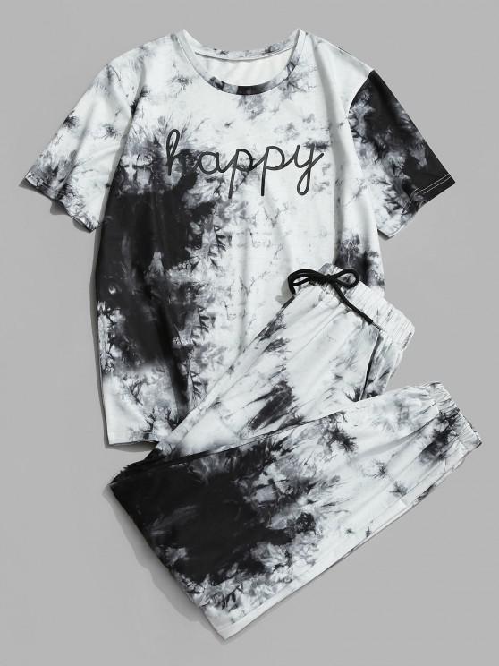 Tie Dye Happy Print Tee And Pants Set - أسود M