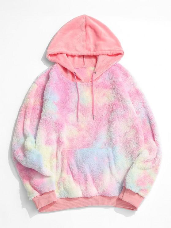 chic Fluffy Tie Dye Hoodie - LIGHT PINK L