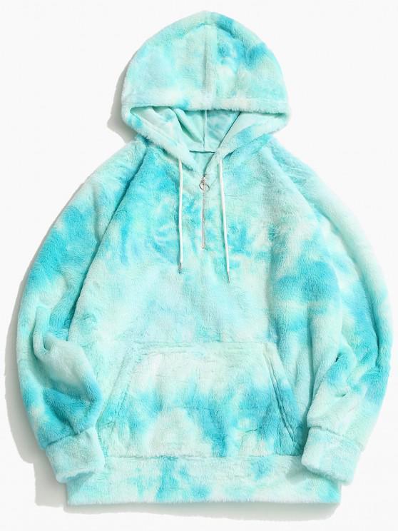 women Tie Dye Faux Fur Ring Half Zipper Hoodie - ROBIN EGG BLUE 2XL
