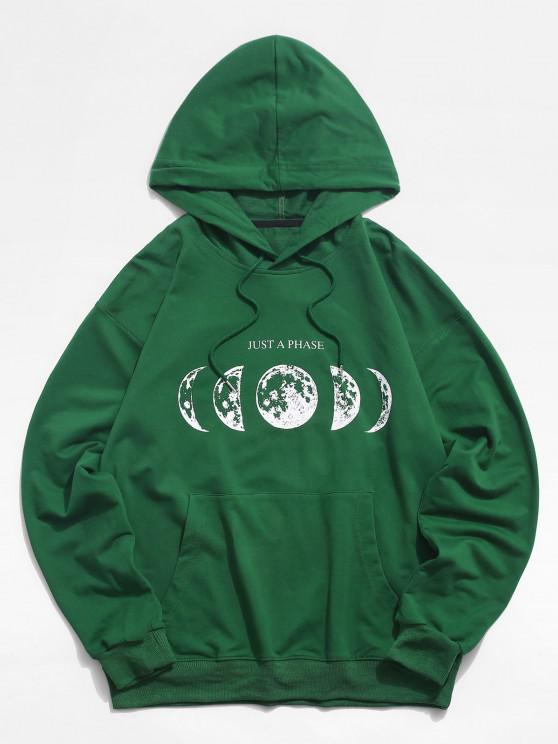 Moon Change Just A Phase Pattern Hoodie - ديب غرين S