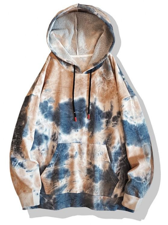 women's Tie Dye Print Drop Shoulder Hoodie - BLUEBERRY BLUE 2XL