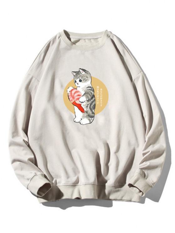 Cartoon Cat Fish Print Rib-knit Trim Sweatshirt - رمادي فاتح M