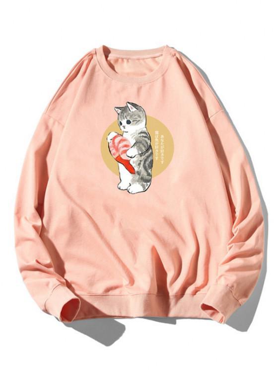 Sweat-shirt Chat Poisson Dessin Animé Imprimé à Ourlet Côtelé - Rose clair XL