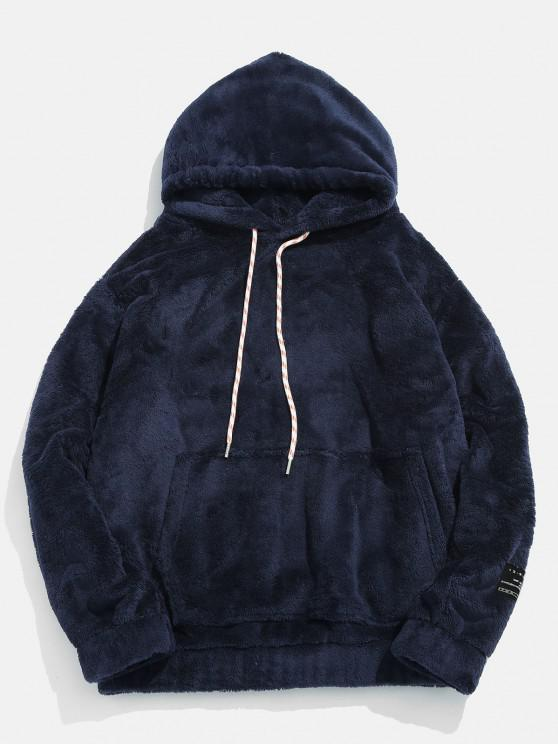 shops Solid Pouch Pocket Fluffy Hoodie - MARBLE BLUE XS