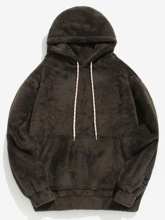 sale Solid Pouch Pocket Fluffy Hoodie - TAUPE XS