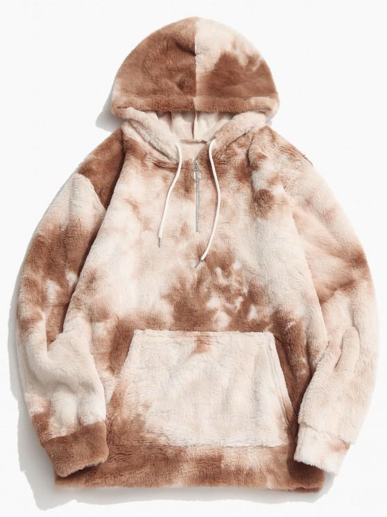hot Tie Dye Faux Fur Ring Half Zipper Hoodie - LIGHT COFFEE M