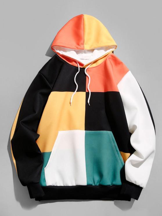 fashion Colorblock Front Pocket Lounge Hoodie - PUMPKIN ORANGE 2XL