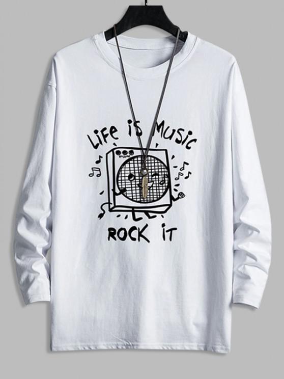 Cartoon Music Box Graphic Casual Drop Shoulder T Shirt - أبيض XS