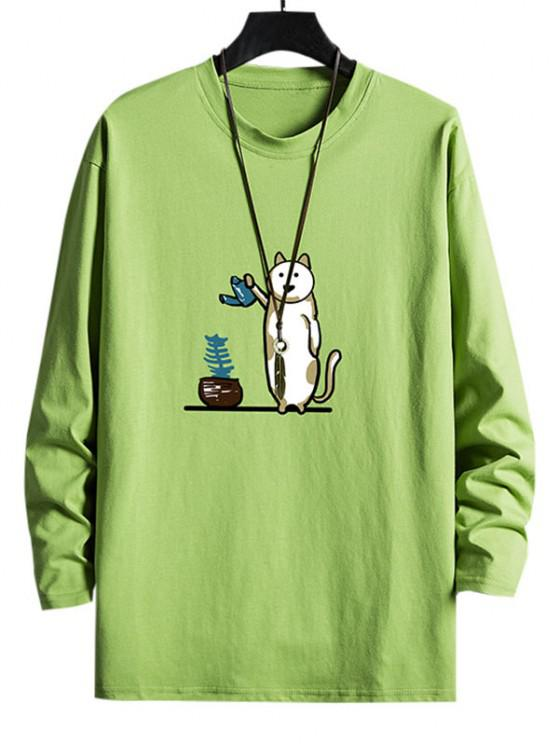 womens Funny Cat Watering Graphic Casual Crew Neck T Shirt - AVOCADO GREEN XS