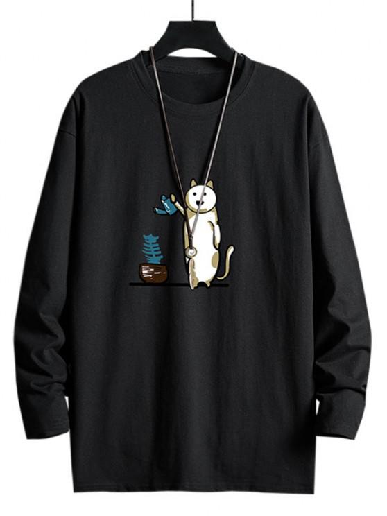 Funny Cat Watering Graphic Casual Crew Neck T Shirt - أسود XS