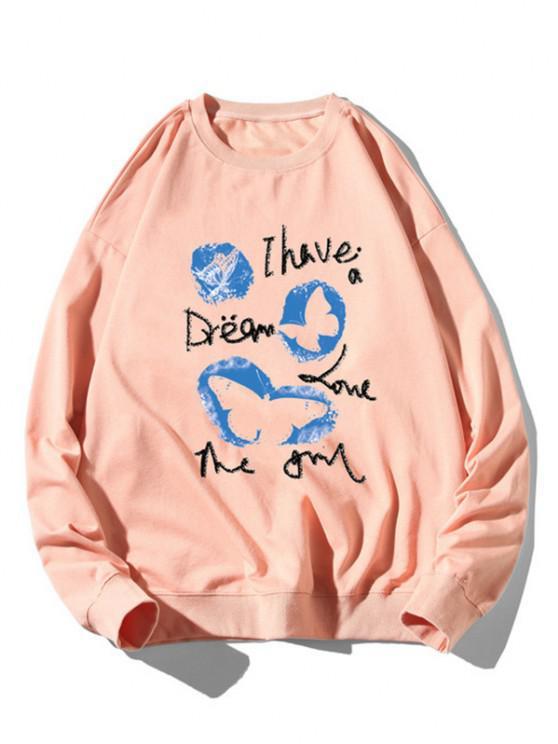 Sweat-shirt Graphique Animal Imprimé à Ourlet Côtelé - Rose clair XL