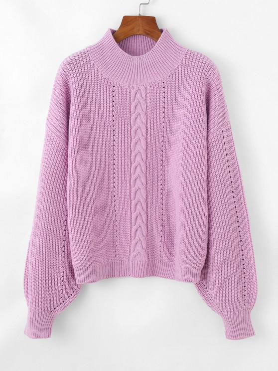 Cable Pointelle Knit Drop Shoulder Sweater - ضوء ارجواني حجم واحد