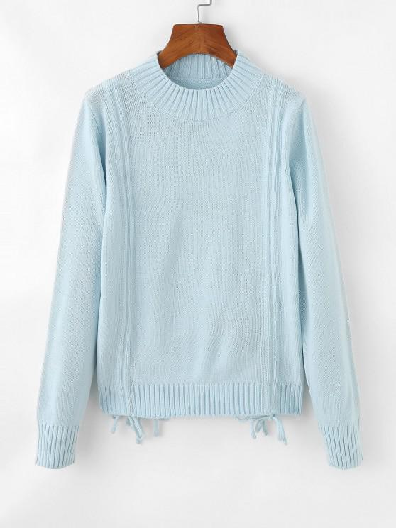best Cinched Tie Ribbed Crew Neck Sweater - LIGHT BLUE ONE SIZE
