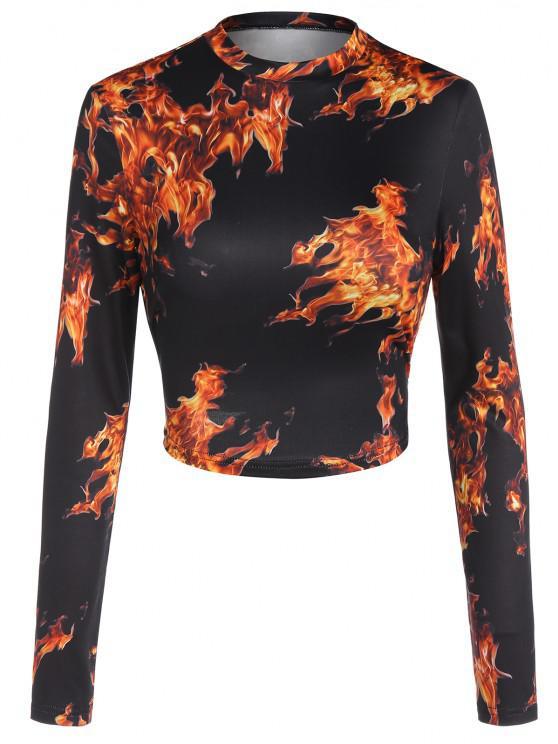 fashion ZAFUL Cutout 3D Flame Print Crop Tee - BLACK XL