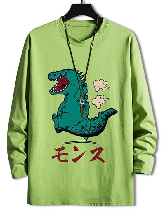new Cartoon Tyrannosauru Graphic Drop Shoulder Leisure T Shirt - AVOCADO GREEN XS