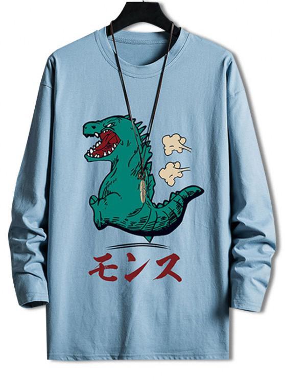 ladies Cartoon Tyrannosauru Graphic Drop Shoulder Leisure T Shirt - SKY BLUE XS