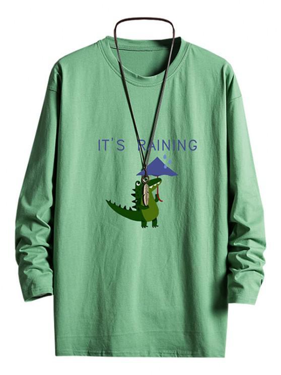 Rainy Dinosaur Graphic Drop Shoulder Long Sleeve T Shirt - ديب غرين S