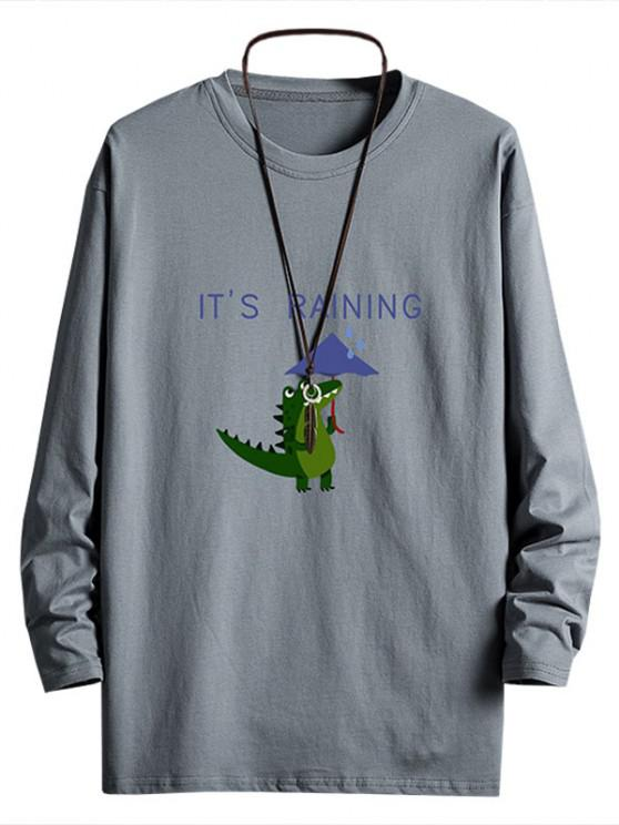 Rainy Dinosaur Graphic Drop Shoulder Long Sleeve T Shirt - الرمادي الداكن XS