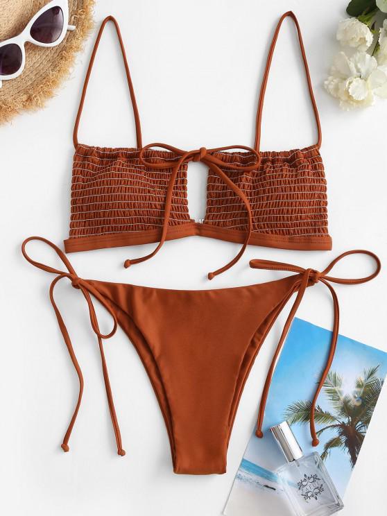 women's ZAFUL Smocked Cutout Drawstring Tanga Bikini Swimwear - COFFEE M