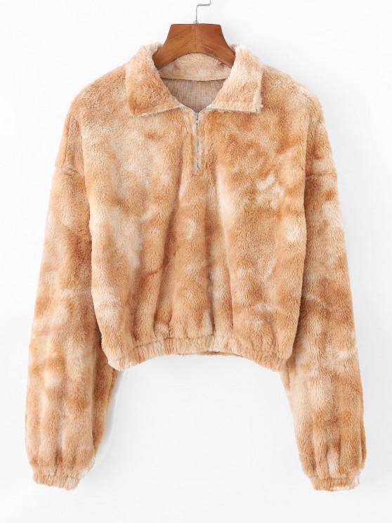 ZAFUL Tie Dye Plush Half Zip Crop Sweatshirt - أسمر M