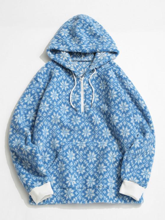 ladies Tie Dye Snowflake Pattern Teddy Hoodie - LIGHT BLUE M