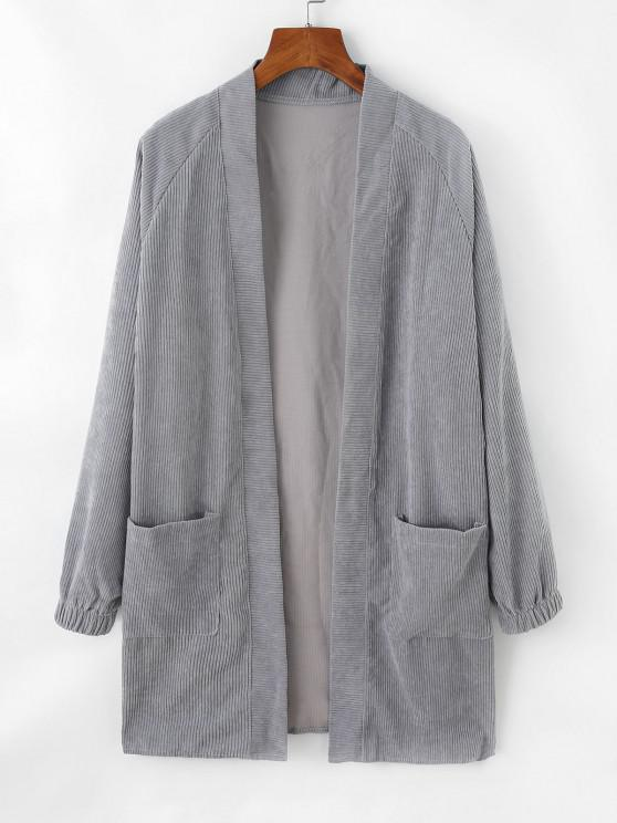 sale Dual Pocket Open Front Corduroy Coat - PLATINUM M