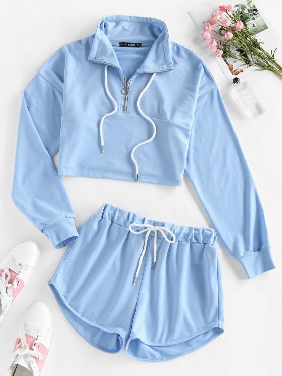best ZAFUL Drop Shoulder Half Zip Drawstring Shorts Set - LIGHT BLUE M