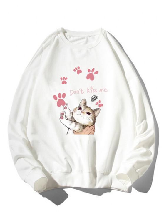 Cartoon Cat Print Rib-knit Trim Cute Sweatshirt - أبيض M