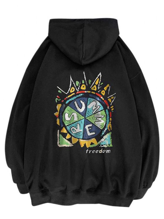 sale Summer Freedom Pizza Graphic Hoodie - BLACK L