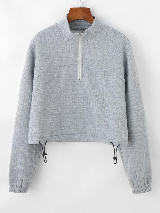chic ZAFUL Textured Half Zip Drop Shoulder Sweatshirt - LIGHT GRAY M
